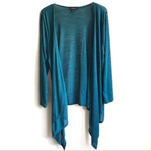 Lane Bryant Waterfall Cardigan Blue Green 18/20 2X
